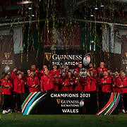 27.03.21 - Picture shows the Wales team lifting the Guinness 6 Nations Championship trophy along with the Triple Crown after being crowned champions last night.