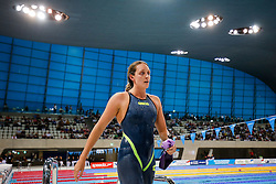 Fran Halsall of Loughbrough looks frustrated after finishing second in the Womes 100m Backstroke Final - Photo mandatory by-line: Rogan Thomson/JMP - 07966 386802 - 16/04/2015 - SPORT - SWIMMING - The London Aquatics Centre, England - Day 3 - British Swimming Championships 2015.