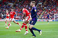 Barnsley forward Mamadou Thiam (26) scores a goal to make the score 3-1 during the EFL Sky Bet League 1 match between Barnsley and Luton Town at Oakwell, Barnsley, England on 13 October 2018.