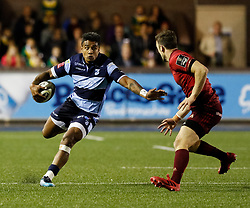 Rey Lee-Lo of Cardiff Blues under pressure from Darren Sweetnam of Munster<br /> <br /> Photographer Simon King/Replay Images<br /> <br /> Guinness PRO14 Round 4 - Cardiff Blues v Munster - Friday 21st September 2018 - Cardiff Arms Park - Cardiff<br /> <br /> World Copyright © Replay Images . All rights reserved. info@replayimages.co.uk - http://replayimages.co.uk