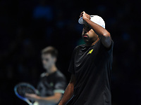 Tennis - 2019 Nitto ATP Finals at The O2 - Day Five<br /> <br /> Doubles Group Jonas Bjorkman: Lukask Kubot & Marcelo Melo vs. Rajeev Ram & Joe Salisbury<br /> <br /> Rajeev Ram dejected during their defeat 6-7, 6-4, 10-7.<br /> <br /> COLORSPORT/ASHLEY WESTERN