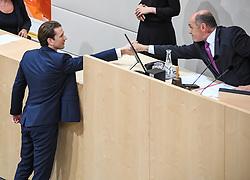 "27.05.2019, Hofburg, Wien, AUT, Sondersitzung des Nationalrates, Sitzung des Nationalrates aufgrund des Misstrauensantrags der Liste JETZT, FPOE und SPOE gegen Bundeskanzler Sebastian Kurz (OeVP) und die Bundesregierung, im Bild V.l. Sebastian Kurz (ÖVP), Wolfgang Sobotka (ÖVP) // during special meeting of the National Council of austria due to the topic ""motion of censure against the federal chancellor Sebastian Kurz (OeVP) and the federal government"" at the Hofburg in Wien, Australia on 2019/05/27. EXPA Pictures © 2019, PhotoCredit: EXPA/ Lukas Huter"