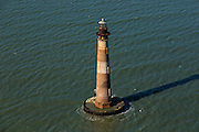 Aerial of the historic Morris Lighthouse Morris Island, South Carolina.