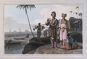 THE Malays of Sumatra have nothing to distinguish them from those of Java colour print from the book ' A Picturesque Voyage to India by Way of China  ' by Thomas Daniell, R.A. and William Daniell, A.R.A. London : Printed for Longman, Hurst, Rees, and Orme, and William Daniell by Thomas Davison, 1810. The Daniells' original watercolors for the scenes depicted herein are now at the Yale Center for British Art, Department of Rare Books and Manuscripts,