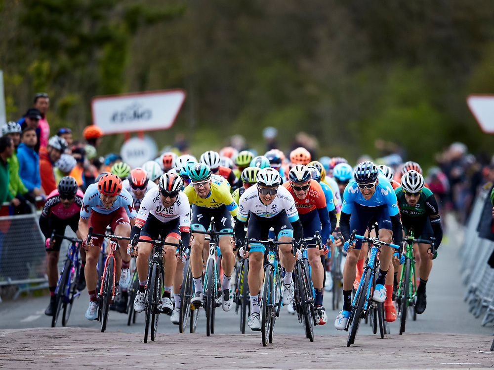 Argandona, Alaba ,Spain, 10/04/2019 . Pelotonduring the Itzulia 2019, Stage 3 between Sarriguren - Estibaliz - 149,8 Km at Mountain Port Estibaliz.<br /> <br /> Photographer: Ion Alcoba Beitia