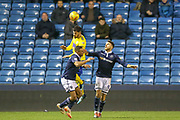 Birmingham City defender Maxime Colin (5) heads the ball clear during the EFL Sky Bet Championship match between Millwall and Birmingham City at The Den, London, England on 28 November 2018.