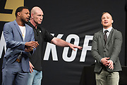 DALLAS, TX - MAY 12:  (L to R) Michael Johnson faces off with Justin Gaethje during the UFC Summer Kickoff Press Conference at the American Airlines Center on May 12, 2017 in Dallas, Texas. (Photo by Cooper Neill/Zuffa LLC/Zuffa LLC via Getty Images) ***Local Caption***  Michael Johnson; Justin Gaethje