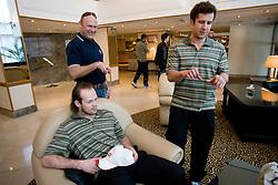 Andrej Habar jr. and st. and Mitja Robar at meeting of Slovenian Ice-Hockey National team, on April 15, 2010, in Hotel Lev, Ljubljana, Slovenia.  (Photo by Vid Ponikvar / Sportida)