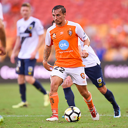 BRISBANE, AUSTRALIA - MARCH 31: Eric Bautheac of the Roar in action during the Round 25 Hyundai A-League match between Brisbane Roar and Central Coast Mariners on March 31, 2018 in Brisbane, Australia. (Photo by Patrick Kearney / Brisbane Roar FC)