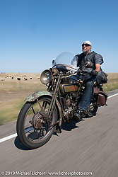 Jim Miner riding his 1918 Harley-Davidson model J Motorcycle Cannonball coast to coast vintage run. Stage 8 (314 miles) from Spirit Lake, IA to Pierre, SD. Saturday September 15, 2018. Photography ©2018 Michael Lichter.