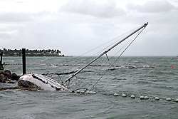 A sailboat crashes on the shore near Mallory Square as the effects of Hurricane Irma move into the Florida Straits on Key West, FL, USA., on Saturday, September 9, 2017. Photo by Charles Trainor Jr./Miami Herald/TNS/ABACAPRESS.COM