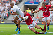 Twickenham, Surrey, World Cup, Sunday, Sunday, 11/08/2019  2019 World Cup, Warm up match, Quilter International, England vs Wales, at the RFU Stadium  [© Peter SPURRIER/Intersport Image]<br /> <br /> 14:07:40, Jonathan Joseph of England, tackled by Hadleigh Parkes of Wales