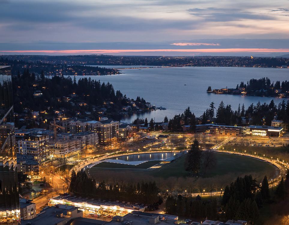 United States, Washington, Bellevue, Lake Washington and Downtown Park at sunset, aerial view