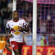 Thierry Henry, New York Red Bulls, celebrates his match winning goal during the New York Red Bulls Vs Houston Dynamo, Major League Soccer regular season match at Red Bull Arena, Harrison, New Jersey. USA. 4th October 2014. Photo Tim Clayton