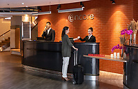 Интерьерная фотосъемка для отеля Ramada Encore Kyiv. Вид на зону регистрации.<br /> <br /> Interior photoshoot for Ramada Encore Kyiv hotel. View of reception area.