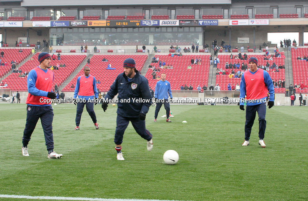 U.S. players warm up before the game. From left: Josh Wolff, Eddie Pope, Ben Olsen, Jimmy Conrad, and Brian Ching. Sunday, February 19th, 2005 at Pizza Hut Park in Frisco, Texas. The United States Men's National Team defeated Guatemala 4-0 in a men's international friendly.