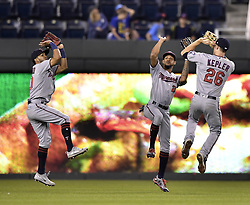 September 8, 2017 - Kansas City, MO, USA - Minnesota Twins outfielders, from left, Eddie Rosario, Byron Buxton and Max Kepler, celebrate after the final out in an 8-5 win against the Kansas City Royals at Kauffman Stadium in Kansas City, Mo., on Friday, Sept. 8, 2017. (Credit Image: © John Sleezer/TNS via ZUMA Wire)