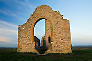 Reflection of the recent sunrise off of the ruined church at Barrow Mump in Somerset. The church itself was dedicated to the soldiers who died during the Second World War.
