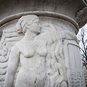 One of two figures carved into the column of the Cuban Friendship Urn in Washington DC. Located in East Potomac Park in Washington DC, the Cuban American Friendship Urn is a 7-ton white marble urn carved from one of the columns that was originally part of the Maine Monument in Havana, Cuba, that memorialized the sinking of the Maine, an event that helped spark the Spanish American War and led to the independence of Cuba from Spain.