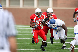 13 October 2007: Geno Blow leaves a Sycamore behind him and heads for more yardage. The Indiana State Sycamores were jacked 69-17 by the Illinois State Redbirds at Hancock Stadium on the campus of Illinois State University in Normal Illinois.