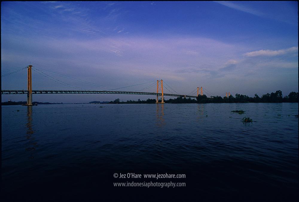 River Barito Bridge, South Kalimantan, Indonesia.