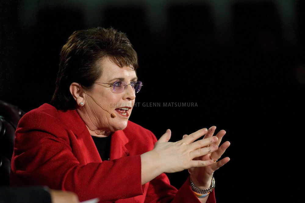 """Tennis legend Billie Jean King interviewed by LaDoris Cordell, Stanford vice provost for campus relations  April 28th, 2007 in Maples Pavilion. """"Title IX at 35: A Conversation with Billie Jean King"""" is sponsored by the Aurora Forum and the Stanford Center on Ethics"""