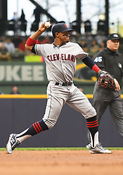 May 8, 2018 - Milwaukee, WI, U.S. - MILWAUKEE, WI - MAY 08: Cleveland Indians Shortstop Francisco Lindor (12) throws to 1st during a MLB game between the Milwaukee Brewers and Cleveland Indians on May 8, 2018 at Miller Park in Milwaukee, WI. The Brewers defeated the Indians 3-2.(Photo by Nick Wosika/Icon Sportswire) (Credit Image: © Nick Wosika/Icon SMI via ZUMA Press)