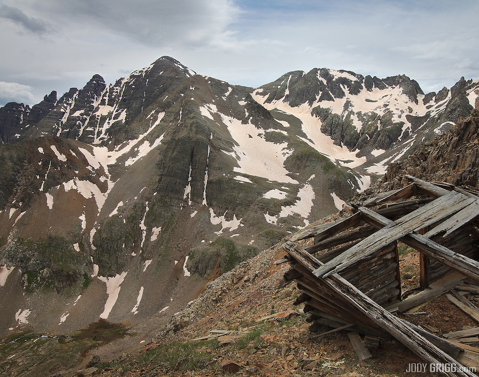 A clearing storm begins to clear from Castle Peak 14,265ft, Elk Mountains, Colorado.