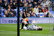 Burton Albion goalkeeper Jon McLaughlin (1) is injured and is substituted for Burton Albion goalkeeper Stephen Bywater (13) during the EFL Sky Bet Championship match between Birmingham City and Burton Albion at St Andrews, Birmingham, England on 17 April 2017. Photo by Richard Holmes.