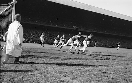 F. hayes Cork forward follows Mick White Meath Back, in possession near Meath goalmouth during the All Ireland Senior Gaelic Football Final Cork v. Meath in Croke Park on the 24th September 1967. Meath 1-9 Cork 0-9.