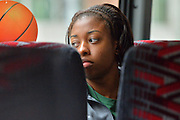 April 4, 2016; Indianapolis, Ind.; Keiahnna Engel looks out the window of the team bus before their game against Lubbock Christian in the NCAA Division II Women's Basketball National Championship game at Bankers Life Fieldhouse.