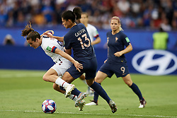 June 28, 2019 - Paris, France - Kelley O Hara (Utah Royals FC) of United States and Valerie Gauvin (Montpellier HSC) of France competes for the ball during the 2019 FIFA Women's World Cup France Quarter Final match between France and USA at Parc des Princes on June 28, 2019 in Paris, France. (Credit Image: © Jose Breton/NurPhoto via ZUMA Press)