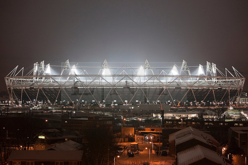 Olympic bosses back West Ham bid, West Ham have won the backing of Olympic bosses to take over the 2012 stadium in east London after the Games, BBC London reports.© London News Pictures 2010/12/20. (L) Olymic Stadium (R) Aquatic Centre. The lights at London's 2012 Olympic stadium have been switched on at a ceremony in east London. Prime Minister David Cameron switched on the lights on 1815 GMT on Monday. Picture credit should read Andrew Baker/London News Pictures