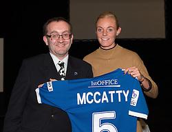 Bristol Academy's Sophie Ingle presents a shirt to Grace McCatty's sponsor Ray Parker - Photo mandatory by-line: Paul Knight/JMP - Mobile: 07966 386802 - 11/10/2015 - Sport - Football - Bristol - Stoke Gifford Stadium - Bristol Academy WFC End of Season Awards 2015