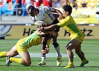 Fiji's Ilai Tinai against Australia at the IRB International Rugby Sevens, Westpac, Wellington, New Zealand, Friday, February 01, 2013. Credit:SNPA / Ross Setford