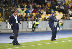 August 24, 2017 - Dynamo head coach Olexandr Khatskevych(R) gestures during the Europa League second play-off soccer match between FC Dynamo Kyiv and FC Maritimo, at the Olimpiyskyi stadium in Kyiv, Ukraine, August 24, 2017. (Credit Image: © Anatolii Stepanov via ZUMA Wire)