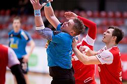 Danijel Mesaric of RK Jeruzalem Ormoz during handball match between RD LL Grosist Slovan and RK Jeruzalem Ormoz in 1st round of Playoffs of 1st NLB Leasing League 2017/18, on March 9, 2018 in Sports hall Kodeljevo, Ljubljana, Slovenia. Photo by Urban Urbanc / Sportida