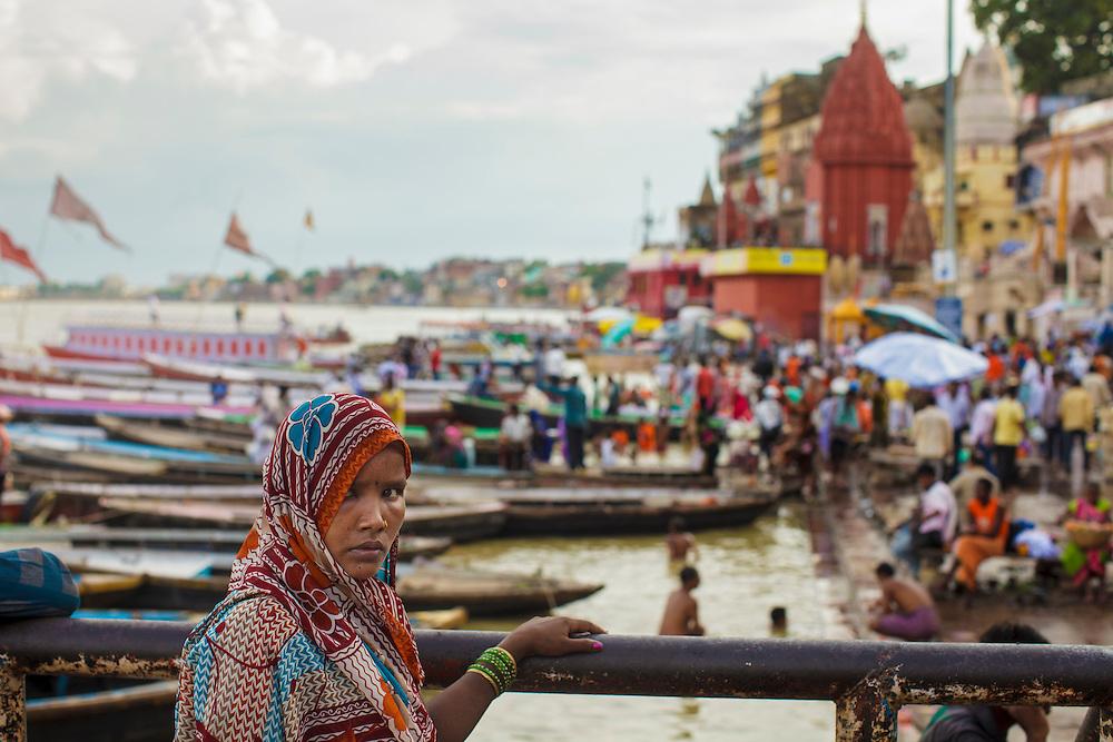 Woman at Dashashwamedh Gath on the Ganges River in Varanasi, India.