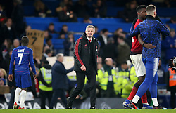 Manchester United interim manager Ole Gunnar Solskjaer reacts after the final whistle during the FA Cup fifth round match at Stamford Bridge, London.