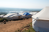 Refugee housing at a camp for internally displace Syrians in Atmeh, Syria. Atmeh is located beside the Turkish border in Idlib Province.