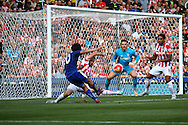Shinji Okazaki of Leicester City shoots over the crossbar. Barclays Premier League match, Stoke city v Leicester City at the Britannia stadium in Stoke on Trent, Staffs on Saturday 19th September 2015.<br /> pic by Chris Stading, Andrew Orchard sports photography.