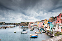 A stormy morning at Marina di Corricella on the island of Procida in the Bay of Naples.