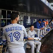 Jose Bautista, (left) and Josh Donaldson, Toronto Blue Jays, during the New York Mets Vs Toronto Blue Jays MLB regular season baseball game at Citi Field, Queens, New York. USA. 15th June 2015. Photo Tim Clayton