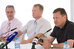 Zlatko Sraka, Uros Ogrin of GREP and Mayor of Ljubljana Zoran Jankovic at press conference open door day 1 year before opening of new football stadium and sports hall in Stozice,  on June 30, 2009, at Stadium Stozice, Ljubljana, Slovenia. (Photo by Vid Ponikvar / Sportida)
