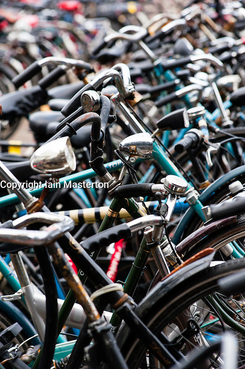 Detail of many bicycles in Amsterdam Netherlands