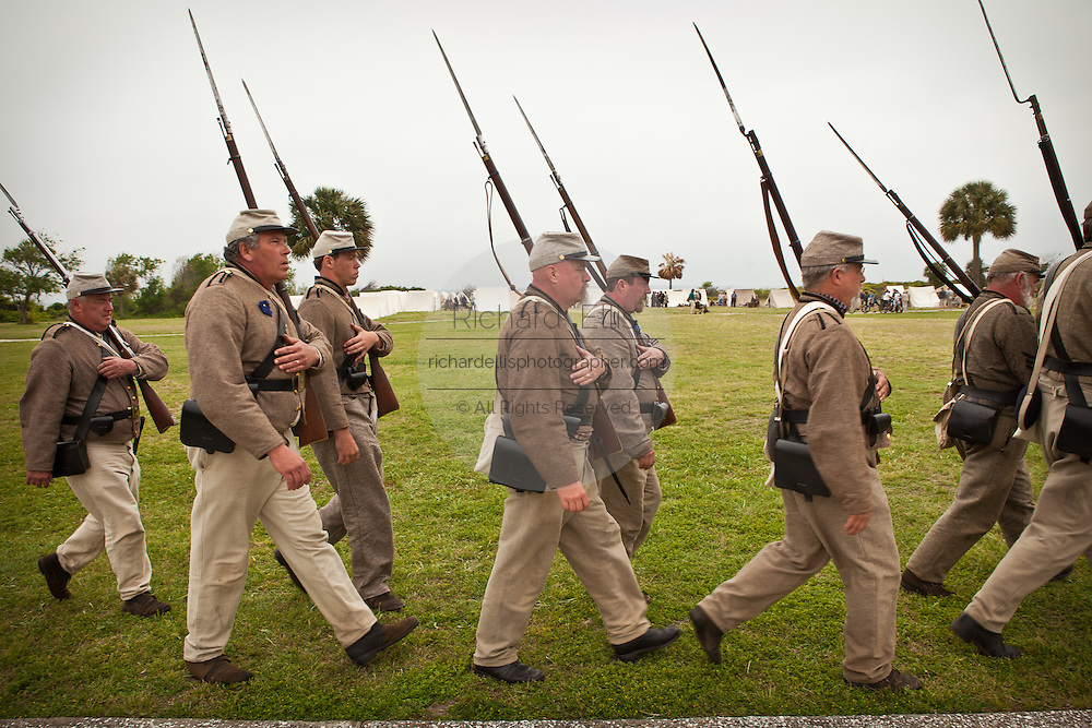 Confederate re-enactors march in Fort Moultrie on Sullivan's Island Charleston, SC. The re-enactors are part of the 150th commemoration of the US Civil War.