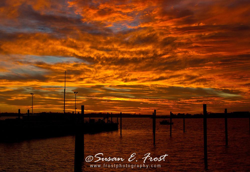 Brilliant orange sunset at Newport, Rhode Island