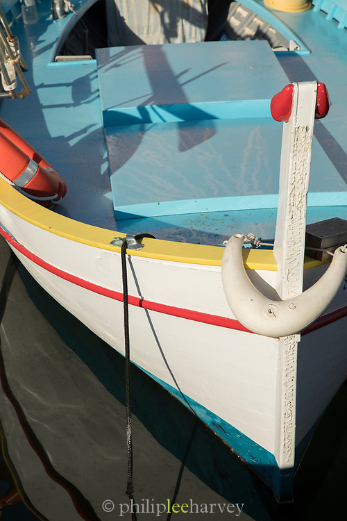Close up of boat in harbor, Ajaccio, Corsica, France