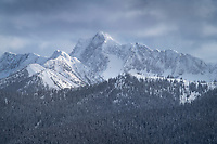 Castle Peak in winter, seen from Gibson Pass Ski Area, Manning Provincial Park, British Columbia. Castle Peak is located in the Pasayten Wilderness just south of the Canadian Border.