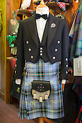 Traditional Highland Dress, Bell of the Borders clan tartan with sporran  and Prince Charlie jacket, for sale at Lochcarron Weavers shop in the Highlands of Scotland